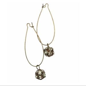 Gold Tone & Crystal Cluster Charm Hoop Earrings